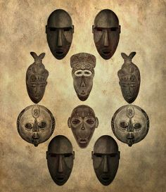 African Tribal Masks by Dan Sproul Tribal African, African Art, Totems, Ritual Dance, Mask Drawing, Mask Painting, African Crafts, African Masks, African Culture