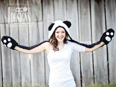 Ravelry: Panda Bear Hood with Scarf - Crochet PDF Pattern by Ira Rott Free Crochet, Knit Crochet, Crochet Hats, Crochet Stitches, Double Crochet, Single Crochet, Crochet Panda, Crochet Dinosaur, Dinosaur Pattern