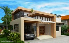 Meet Kassandra, two storey house design with roof deck. The ground floor has a total floor area of 107 square meters and 30 square meters at the second floor Two Storey House Plans, One Storey House, 2 Storey House Design, House Roof Design, Small House Design, House Layout Plans, House Layouts, Architecture Magazines, Amazing Architecture
