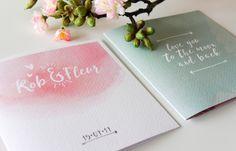 Trouwkaart roze en vintage groen #zomer #vintage #bohemian - door Juli Ontwerpburo