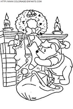 Approaching Winni The Pooh Fireplace Coloring Pages