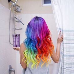 Here's How to Get Rainbow Hair if You're a Brunette Violet Things violet hair color Violet Hair Colors, Vivid Colors, Rainbow Hair Colors, Rainbow Dyed Hair, Vivid Hair Color, Rainbow Nails, Hair Colours, Colorful Hair, Pelo Multicolor