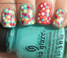 Multicolor Polka Dot Nails