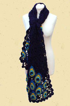 Rechte gehaakte sjaal met pauwenogen                                                                                                                                                                                 More