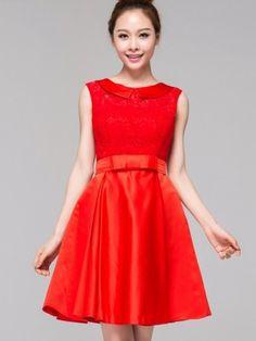 Red Short Lace Bridesmaid Cheongsam / Qipao / Chinese Wedding Dress