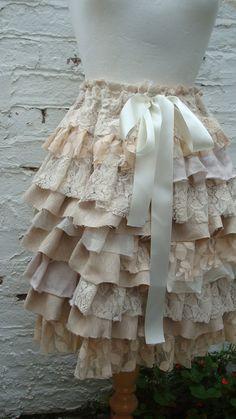 Upcycled Skirt Woman's Clothing Ivory Cream by BabaYagaFashion