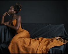 Black and terracotta kente couture evening gown  KE 0805