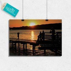 Plakat Zachód słońca. #plakat #obraz #zachód #słońce #wakacje #jezioro #fotografia