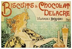 Biscuits & Chocolat Delacre Poster by Henri Privat Livemont - http://retrographik.com/biscuits-chocolat-delacre-poster-henri-privat-livemont/ - art nouveau, henri privat-livemont, Poster, vintage, wall art, Women
