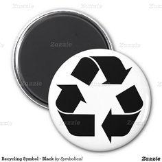 Recycling Symbol - Black 2 Inch Round Magnet #Gravityx9 #Zazzle #EarthDay