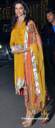 Deepika Padukone in Silk Churidar Dress, Latest Haldi Dresses for Celebs-PakeezaAnchal.com