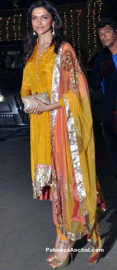 Deepika Padukone in Silk Churidar Dress, Latest Haldi Dresses for Celebs-PakeezaAnchal.com