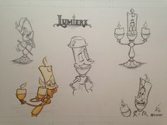 Beauty and the Beast Lumiere character model sheet