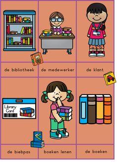 Woordkaarten bibliotheek Kids Planner, Vocabulary, My Books, Classroom, Comics, School, Reading, Class Room, Comic Book