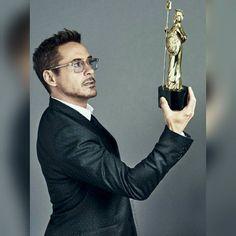 Robert Downey Jr. with his BAFTA Award.