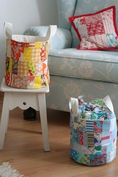 Fabric scrap bucket bags!  Great for a child's room made from the scraps used for the child's clothes!
