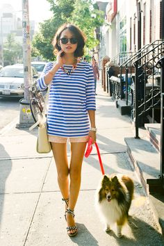 Pair a striped top with easy shorts. Add on a fun necklace for some extra style.