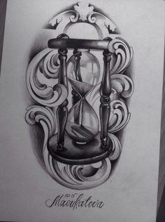 Resultado de imagem para clock and roses tattoo designs Time Tattoos, Body Art Tattoos, Small Tattoos, Tattoo Sketches, Tattoo Drawings, Arm Tattoo, Sleeve Tattoos, Hourglass Tattoo, Hourglass Drawing