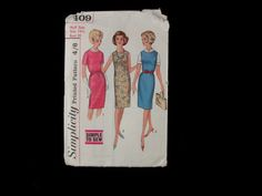 Dressmaking pattern; Simplicity - No.5409 - Misses one piece dress or jumpers scoop neck. Paper pattern. 1964