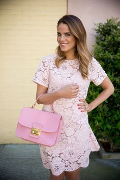 BCBG Dress (runs big, I'm wearing an xxs- also love it in yellow), Miu Miu Bag (old, similar here), Valentino Heels… Work Fashion, Fashion Outfits, Women's Fashion, Pastel Color Dress, Pink Lace, Pale Pink, Cool Outfits, Summer Outfits, Big Dresses