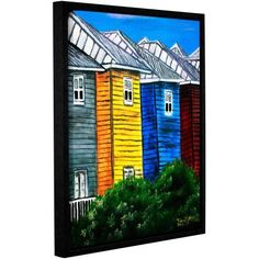 ArtWall Derek Mccrea Beach Houses Gallery-wrapped Floater-framed Canvas, Size: 36 x 48, Green