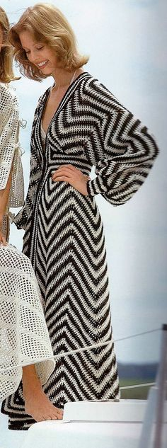 Retro Black and Ecru Beach Caftan or Swimsuit Coverup PDF Crochet Pattern