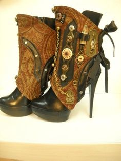 I am amazing myself by how much steampunk stuff I like. Souza - Steampunk - spats- one-of a kind- ref Etsy.