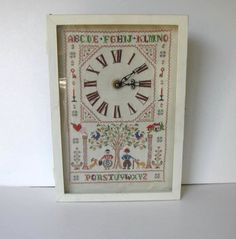 Shabby cross stitched sampler clock  working by jewelryandthings2
