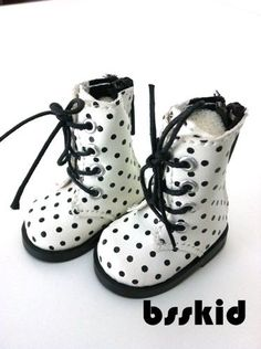 Y02-BJD-Yo-SD-1-6-Dollfie-13-Effner-12-Kish-Doll-Shoes-Boot-White-Polka-Dot