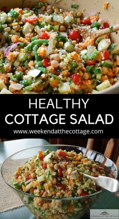 This healthy delicious salad makes a perfect summer lunch or dinner. We love serving this at the cottage because you can use up whatever you have on hand in fridge before heading back to the city. #healthysalad #healthyrecipe #salad #cottagerecipe #easylunch #easydinner #weeknightdinner #picnicfood