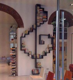 A bookshelf can also make a nice partition wall or a unique decoration in your room. Check out these extraordinary bookshelf ideas Deco Design, Design Case, Creative Bookshelves, Bookshelf Ideas, Bookshelf Decorating, Decorating Ideas, Bookshelf Inspiration, Bookshelf Design, Bookshelf Storage