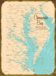 Chesapeake Bay and Delaware Bay Historical Map 1912 Chesapeake