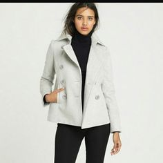J.Crew PETITE MAJESTY PEACOAT gray silver Excellent condition! 2nd picture is of the right sleeve upper area near the armpit. A small damaged area.  Color is a beautiful light gray. J. Crew Jackets & Coats