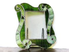 Green Waves Stained Glass Picture Frame by Legsi on Etsy, $65.00 Stained Glass Frames, Stained Glass Ornaments, Stained Glass Patterns, Stained Glass Art, Stained Glass Windows, Mosaic Glass, Glass Picture Frames, Cut Glass, Beetle