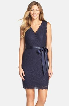 7319ad923f0 Adrianna Papell Lace Faux Wrap Dress available at  Nordstrom Navy Lace