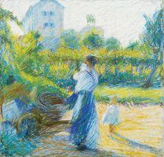 Umberto Boccioni (Italian, 1982-1916), Donna in giardino, 1910. Pastel on paper on canvas, 38 x 37 cm