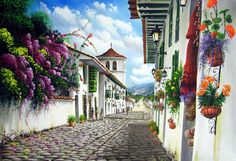 cuadros de paisajes - Google Search Magical Paintings, Art Paintings, Pintura Exterior, Russian Art, Funny Art, Rue, Vintage Images, Watercolor Flowers, American Art
