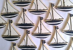 Sailboats - Butter Cookie Party Favors. $34.00, via Etsy. Summer Cookies, Holiday Cookies, Happy Birthday Me, Birthday Parties, Birthday Ideas, Sailboat Cookies, Cookie Party Favors, Sugar Dough, Mini Cookie Cutters