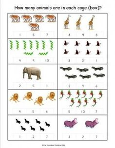 """How many animals are in each cage? Activity to accompany """"1, 2, 3, to the Zoo"""" by Eric Carle"""