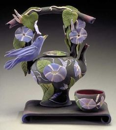 Not sure what I think about this one. It is unusual and so much detail. teapot by Nancy Y. Adams