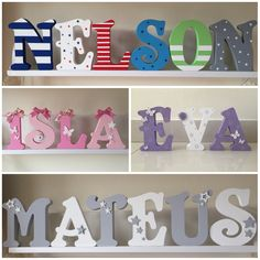 Items similar to Personalised Freestanding MDF Wooden Letters on Etsy Wooden Name Letters, Mdf Letters, Painting Wooden Letters, Wood Names, Painted Letters, Letter Standee, Diy Gifts, Handmade Gifts, Letter Patterns