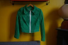 vintage green cropped jacket 1970 70s by dieyoungstaypretty