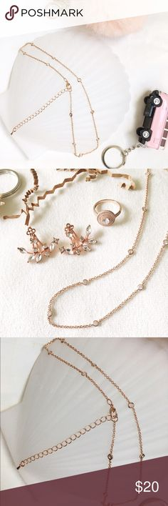 Rose gold necklace Danty brand new necklace. Rose gold with little diamonds. Francesca's Collections Jewelry Necklaces