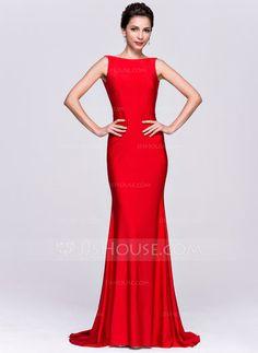 Trumpet/Mermaid Scoop Neck Sweep Train Jersey Evening Dress (017065562) - JJsHouse