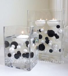 Unique Wholesale Transparent Water Gels Packet Vase Fillers for Floating the Pearls. The Black and White Pearls are Sold Separately Vase Pearlfection Wedding Centerpieces, Wedding Decorations, Table Decorations, Candle Centerpieces, Centerpiece Ideas, Pearl Centerpiece, Simple Centerpieces, Water Beads Centerpiece, Candle Arrangements