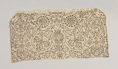 Coif Date: 1575-1600 Culture: English Medium: Linen embroidered with linen and metal thread, spangles; drawn thread work, satin, chain, and needle-lace stitches