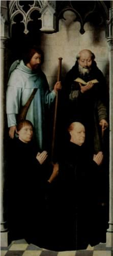 Triptych of the Mystical Marriage of St. Catherine of Alexandria,  The founder Jacob de Kueninc and Anthony Seghers  - Hans Memling