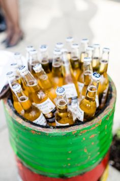 How To Mix Up Your Wedding Reception With Drinks Stations - Boozy buckets | CHWV