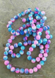 Pink-Blue 8mm Round Drawbench Glass Beads Spray Painted                                   CC-90017