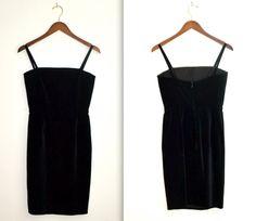 Vintage 90s Black Velvet Dress BodyCon // Vintage by Hookedonhoney, $90.00